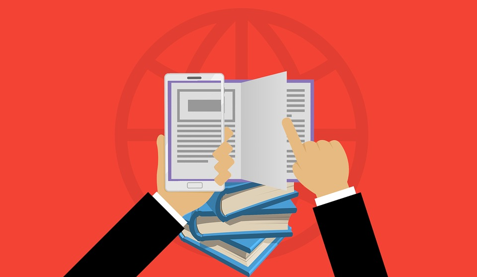 Image de livre, d'une liseuse et des mains humaines en sytle cartoon logo